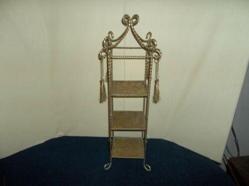 Vintage Hollywood Regency 3 Tier Shelf Rope Tassel Gold Tole Display Stand