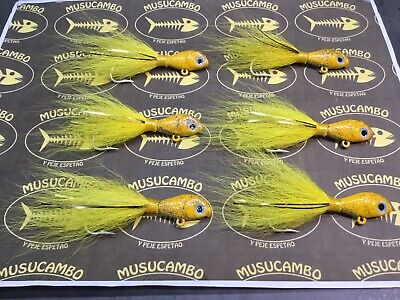 w// tails and flash snapper Spire point nylon tied jigs Grouper Jigs striper