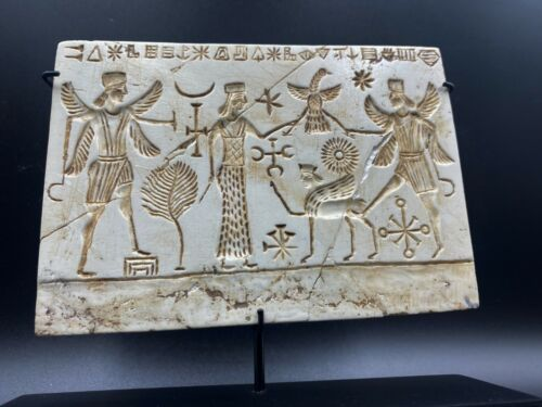 Old Ancient Sasanian Dynasty White Stone Engraved With Story Scene Plate Plaque