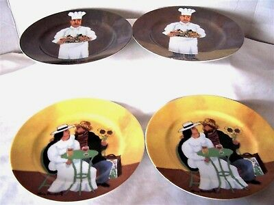 Williams Sonoma Collection Guy Buffet Seven Salad or Dessert Plates French Scene William Sonoma Collection