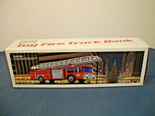 1986 HESS TOY FIRE TRUCK BANK - NEW IN BOX / INSERTS