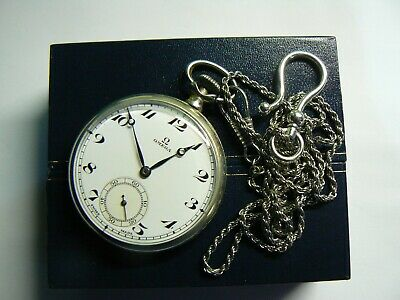 Super Rare Vintage 1934 SWISS OMEGA STEEL Pocket Watch with Chain & Boxed