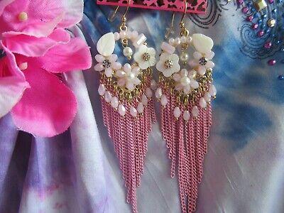Betsey Johnson  Pink Shell Flowers Tassel Earrings Crystal Rhinestone NEW