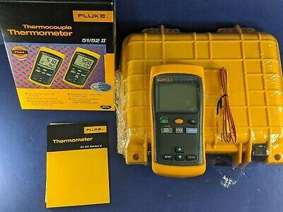 Brand New Fluke 51 Ii Thermocouple Thermometer Original Box Hard Case More