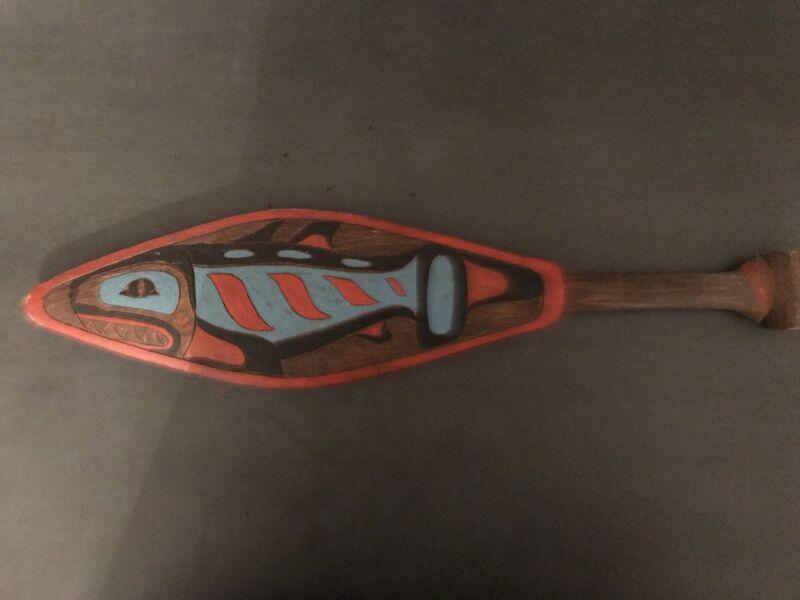 "Early Vintage Tlingit Cedar Dance Paddle ""Coho"" Or ""Dog Salmon"" Alaska"