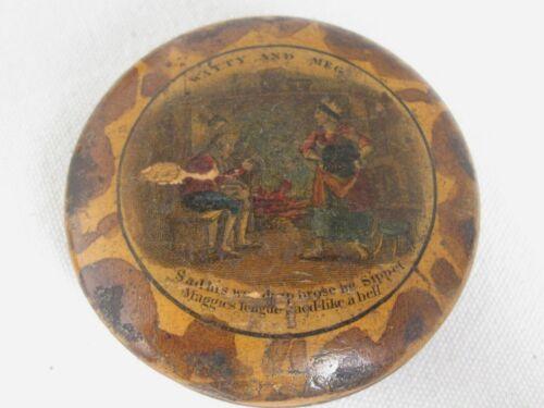 "Antique Round Wood Snuff Box ""Watty and Meg"""