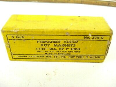 General Hardware 374-c Permanent Alnico Pot Magnets 1 Dia. X 1-116 H Usa