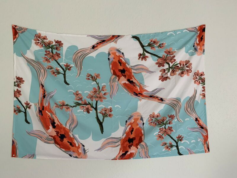 Tapestry wall hanging koi fish tropical pink flowers polyester tapetry wall art