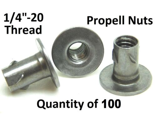 """LOT OF 100! NEW 1/4""""-20 HURRICANE PROPELL T NUTS 1/2"""" LENGTH AMPS/SPEAKERS NC"""