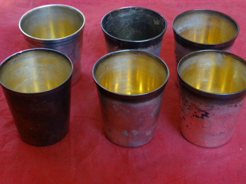 Fine Set Of 6 Antique Gorham Durgin Sterling Silver Julep Cups #29