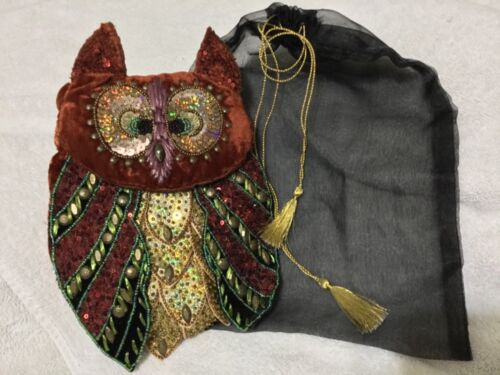 """KATHERINE'S COLLECTION SEQUIN BEADED BUTTONED OWL HALLOWEEN PURSE (11.0"""" X 7.0"""")"""