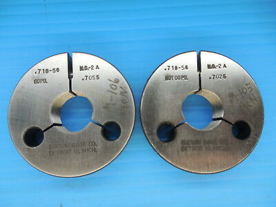 .718 56 Thread Ring Gages .7180 Go No Go P.d.s .7055 .7025 Inspection Tooling