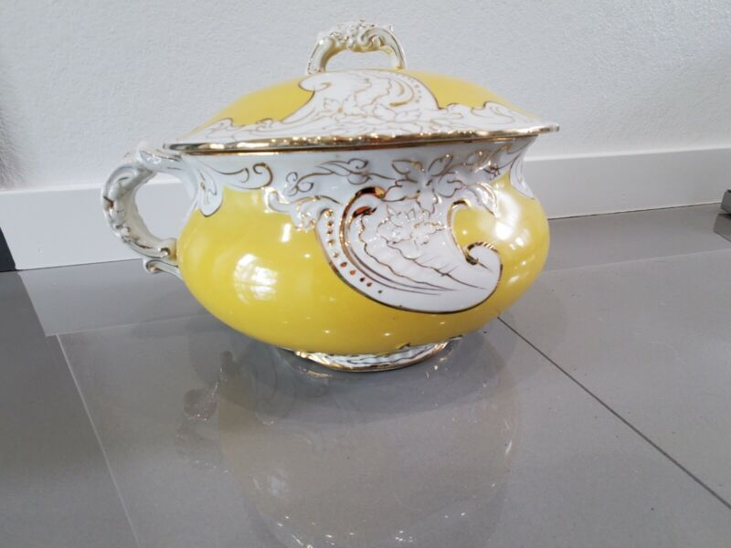 Antique WP LaBelle China Yellow and White Chamber Pot with Lid