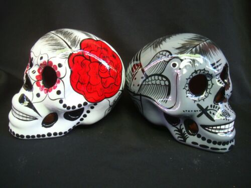 2 Large Day of the Dead sugar skulls Dia de Los Muertos,, talavera,  art Rose