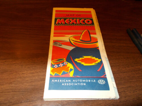1948 AAA Mexico Vintage Road Map