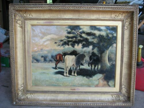 """BEAUTIFUL HORSES PAINTING SIGNED """"M94"""", Without Frame"""