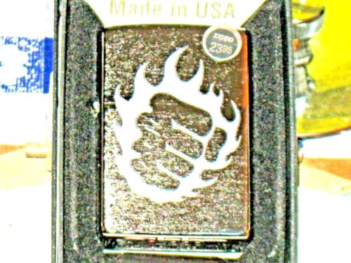 New USA ZIPPO Windproof oil Lighter 29428 Tattoo Fire & Fist Brushed Chrome Case