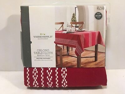 Target Threshold Oblong Tablecloth 60 x 84 Red White Geometric Stripe 2017
