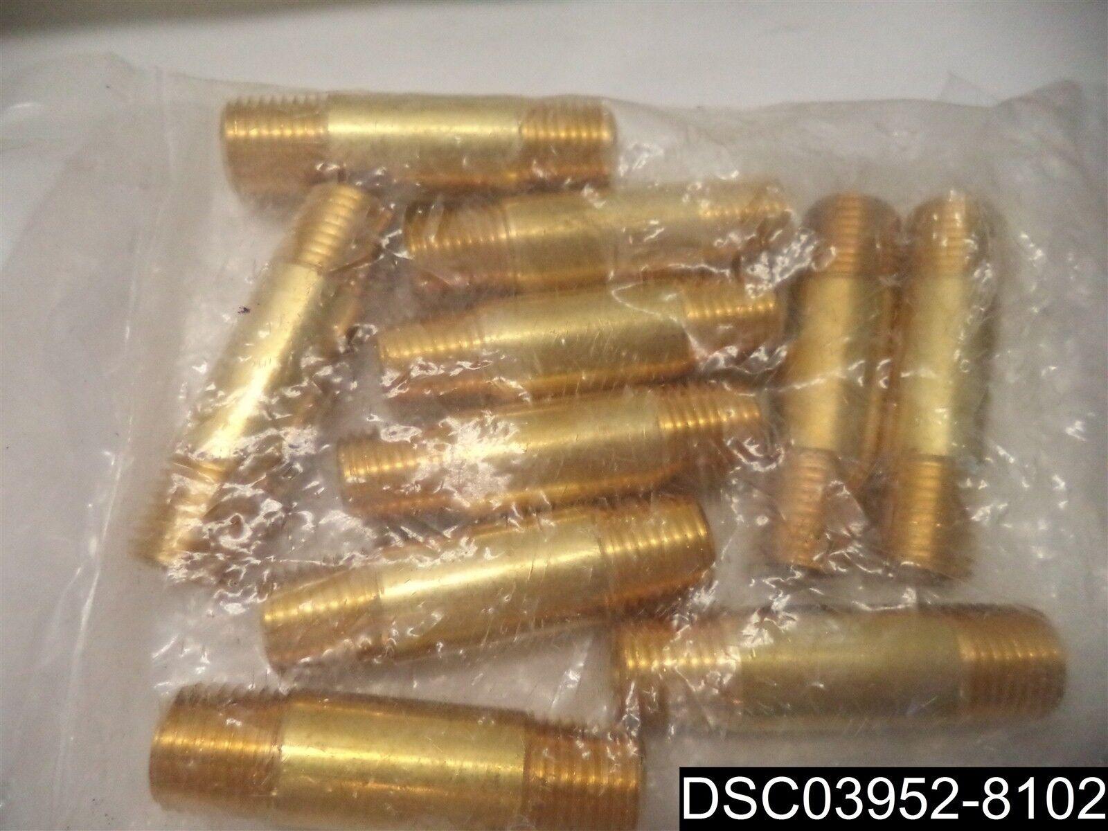 """Qty= 10: Tectran Brass Pipe 1/4"""" X 2"""" Long Nipple Fitting, NPT , 113-B2"""