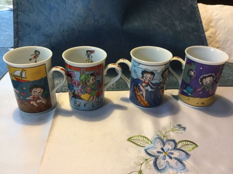 Betty Boop Set Of 4 Fine Porcelain Collector Mugs