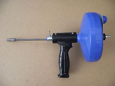 Rohr- Reinigungspirale blau mit Bohrmaschinenanschluss und Pistolengriff Neu
