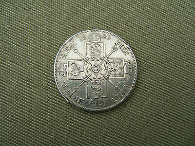 1889   QUEEN  VICTORIA    SILVER  DOUBLE FLORIN  COIN  (  VERY GOOD GRADE )
