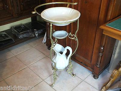 Wasch Set Waschset Porzellan / Keramik Weiß Schüssel Krug Schale mit Ständer