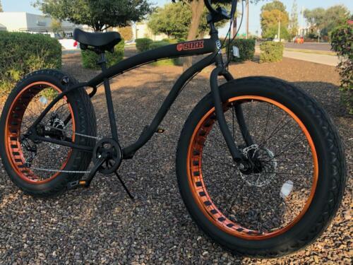 Fat Tire Beach Cruiser Bike 🌴 Flat Black w Copper - 7 Speed Cutout Rims