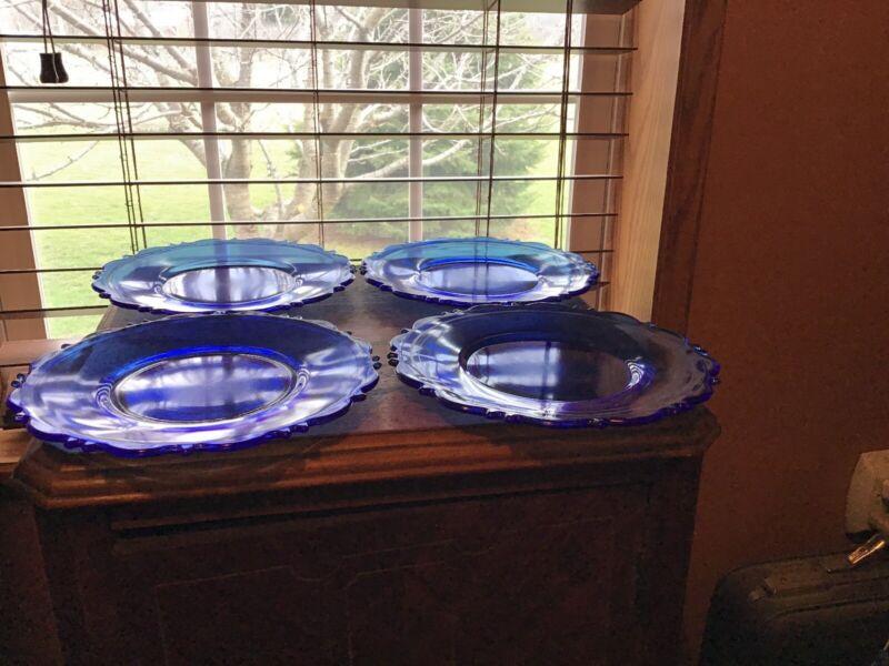 """4 Vintage LE Smith Cobalt Blue Mt Pleasant 8"""" Plates"""