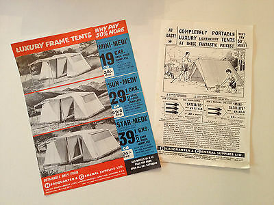 Rare H & G headquarter and general 1950s frame tents brochure camping