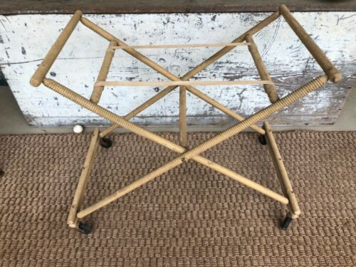 Luggage Rack Folding Rolling Turned Wood Vintage Chic