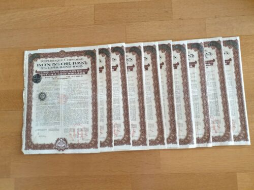 A LOT OF 10 CHINESE BONDS 5% 1925 $50 GOLD BOND
