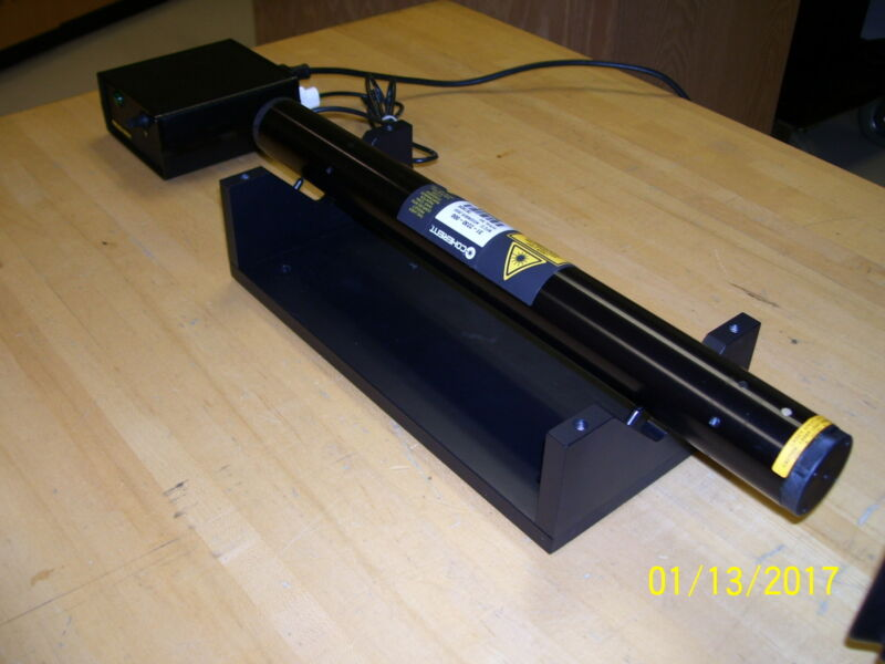 Yellow Helium Neon Laser System Complete! With  >3.5 mW  power! New Old Stock!