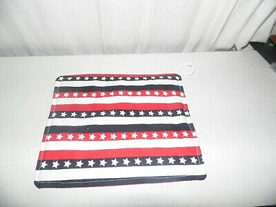 """Quilted Hot Pads Pot Holders Red White Blue Stars and Stripes 9""""x7.75"""" for sale  Shipping to Canada"""