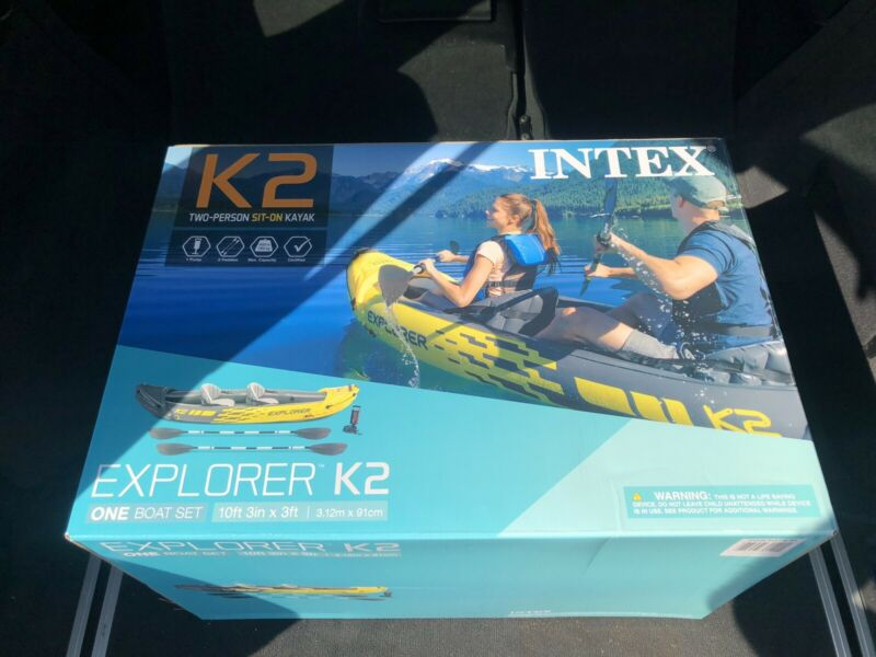 NEW Intex K2 Explorer 2 Person Inflatable Kayak w/ Oars, Pump🚨FREE SHIPPING🚨