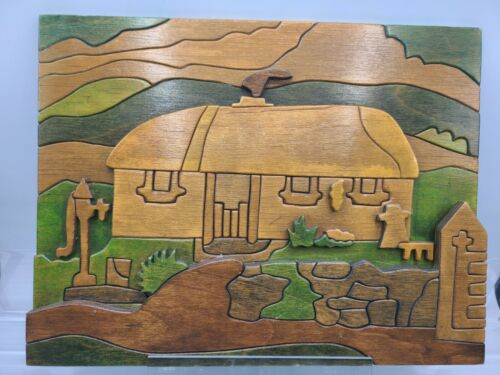 Puckane Crafts Ireland Wood House Rural Scene Signed by Artist Alice Walsh