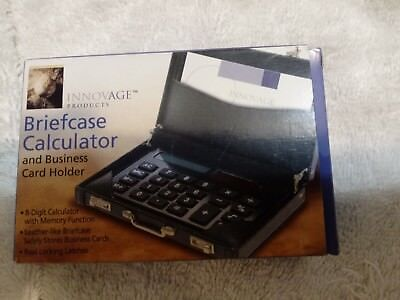 Briefcase Calculator Solar Power Business Card Holder Innovage Product - New
