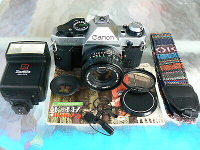 CANON AE-1 PROGRAM CAMERA WITH 50MM F1.8 LENS KIT *SERVICED 35MM SLR MANUAL *EX+