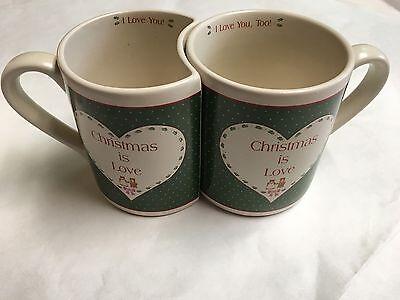 - Enesco Green Glass Village 2 Interlocking Coffee Mugs Christmas Is Love