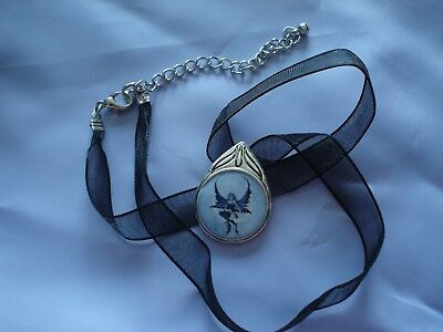 Amy Brown Moonchild Fairy Cameo Necklace Moon Child Blue Crescent Wings Girl New