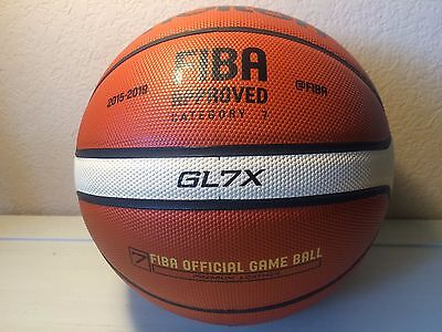 Molten Basketball Gl7x Authentic Leather Fiba Official Game Ball Size 7 Gl7x