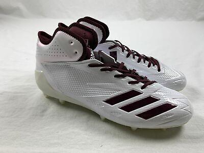NEW adidas Adizero 5-Star 6.0 Mid - White/Maroon Cleats (Men's Multiple Sizes)