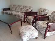 1950's teak lounge suite with rattan sides Page Belconnen Area Preview