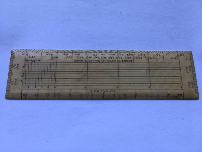 """C1860s ASTON&MANDER LTD MAKERS LONDON DRAUGHTSMANS RULE(YDS 6""""MILE)"""