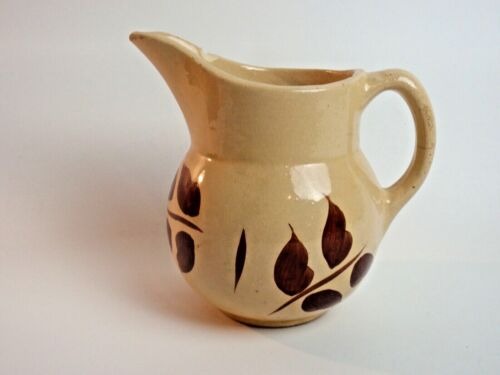 Authentic Watt Pottery Autumn Foliage #15 Pitcher Small Yelloware Brown Leaves