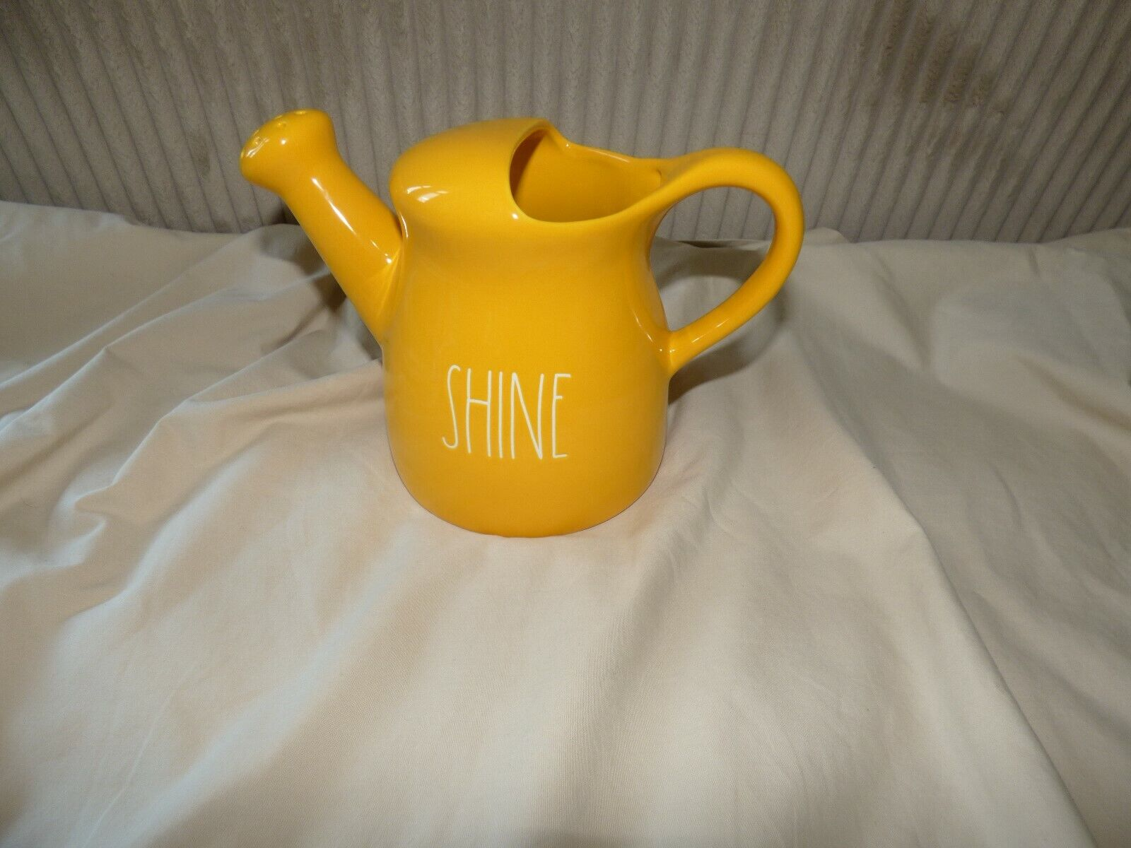 """RAE DUNN YELLOW W/ WHITE LARGE LETTERS """" SHINE """" Watering Can NEW HARD TO FIND"""