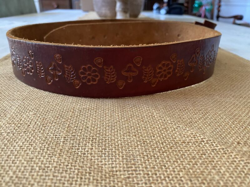 Vintage Leather Hippie Belt Mushrooms 45 Inches Long Needs Buckle