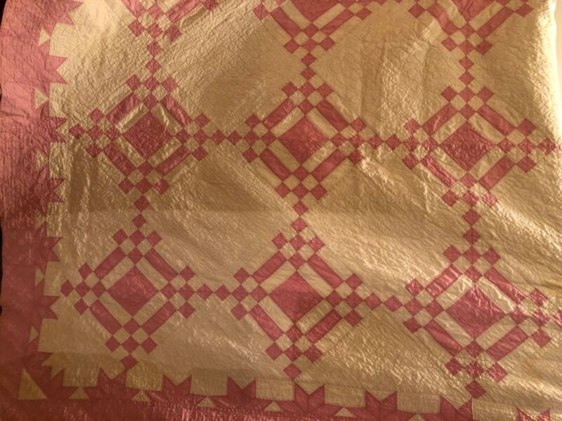 """Pink and White Vintage Quilt 82"""" X 65"""""""