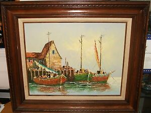REYNOLD-SAIL-FISHING-BOATS-AT-DOCK-ORIGINAL-OIL-ON-CANVAS-SEASCAPE-PAINTING