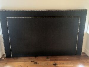 Grey fabric and metal button grommet detail queen Headboard